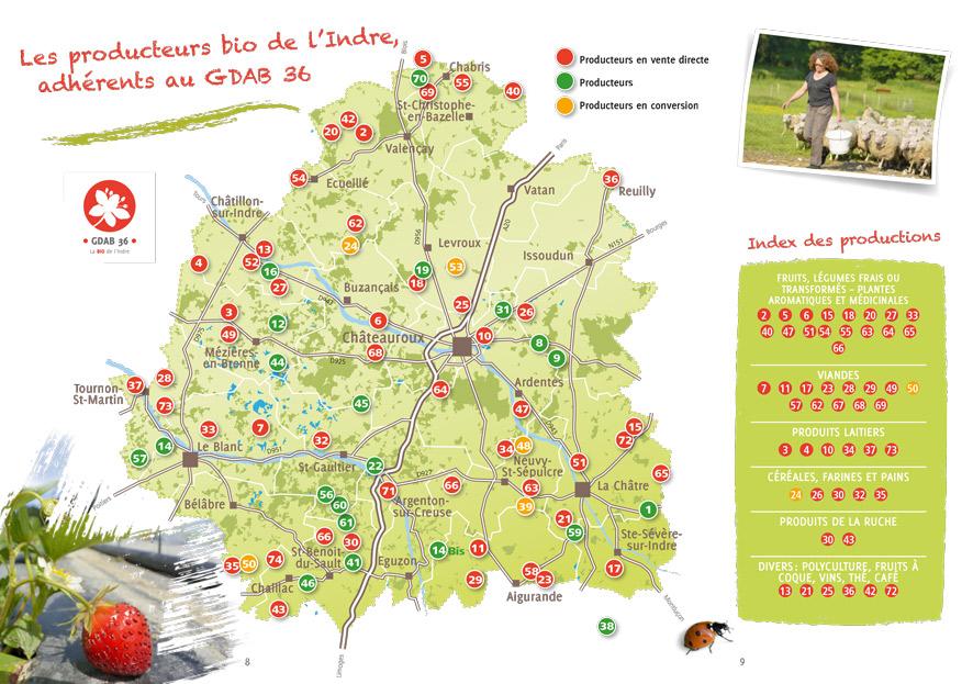 Carte des producteurs de BIO dans l'Indre